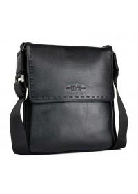 Мужская кожаная сумка через плечо 3193-3 BLACK