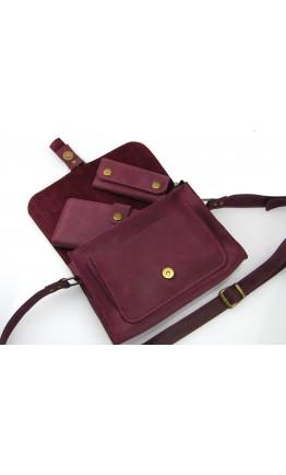 Кожаная женская бордовая сумочка 331188W-SGE