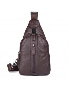 Коричневая сумка мужская рюкзак на одно плечо 74007C