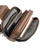 Фотография Кожаный рюкзак коричневый на одну шлейку 4009B
