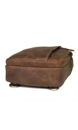 Кожаный рюкзак коричневый на одну шлейку 4009B