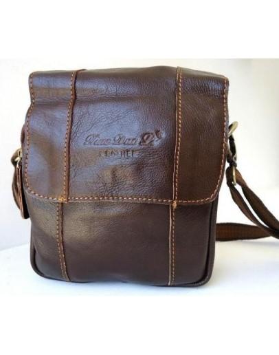 Фотография Повседневная кожаная мужская коричневая сумка на плечо 74487