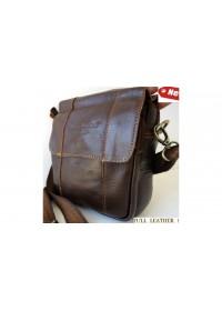 Повседневная кожаная мужская коричневая сумка на плечо 74487
