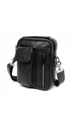 Черная кожаная мужская плечевая сумка 5009A