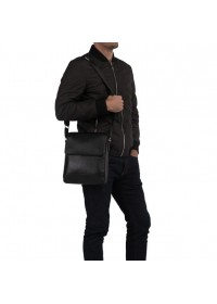 Удобная кожаная черная мужская сумка 5831-1