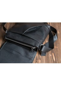 Чёрный удобный кожаный мессенджер 5832