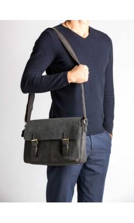 Кожаная мужская горизонтальная большая сумка на плечо 76002a