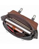 Фотография Темно-коричневая удобная сумка мужская на плечо 76002J