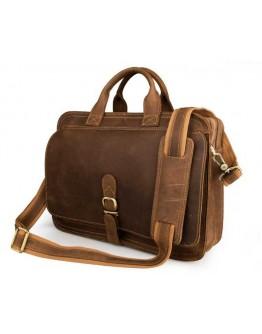 Добротный коричневый портфель из лошадиной кожи 76020B