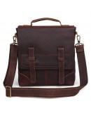 Фотография Вертикальная коричневая мужская сумка на плечо 76034
