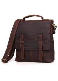 Вертикальная коричневая мужская сумка на плечо 76034
