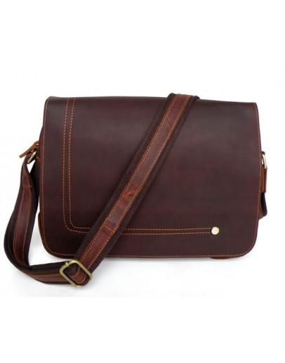 Фотография Классическая горизонтальная кожаная сумка на плечо 76035