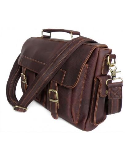 Фотография Коричневый брутальный мужской кожаный портфель 76037