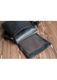 Удобная чёрная сумка из натуральной кожи 6068-1