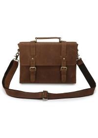 Рыжевато-коричневый портфель из лошадиной прочной кожи 76076b