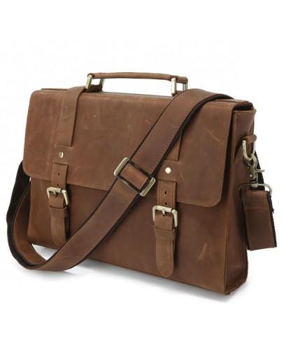 Фотография Рыжевато-коричневый портфель из лошадиной прочной кожи 76076b