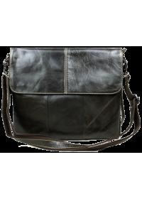 Тёмно-коричневая мужская кожаная сумка на плечо 7051