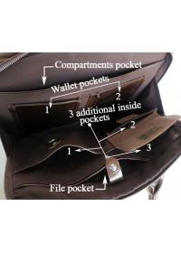 Портфель мужской темно-коричневый из натуральной кожи 7005Q-2