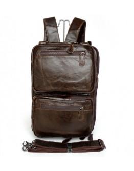 Мега вместительная качественная сумка-рюкзак из кожи 77014