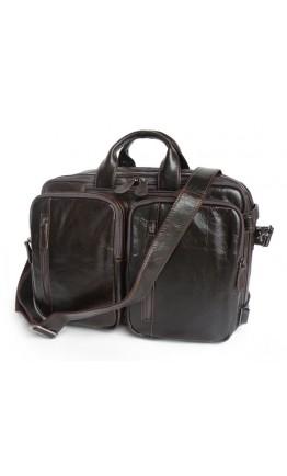 Кожаный портфель-рюкзак трансформер 77014Q-2