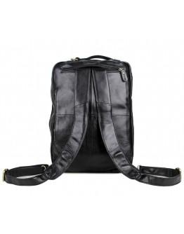Вместительный кожаный портфель - рюкзак черного цвета 77026A