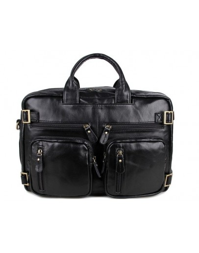 Фотография Вместительный кожаный портфель - рюкзак черного цвета 77026A