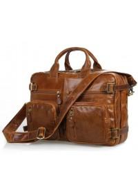 Рыжая кожаная мужская сумка-рюкзак 77026b1