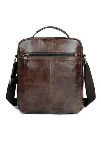 Практичная повседневная мужская коричневая сумка на плечо 77027