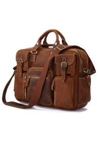 Безупречная стильная мужская сумка коричневого цвета 77028C1