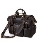 Фотография Большая кожаная мужская коричневая сумка 77028Q