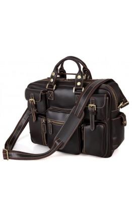 Большая кожаная мужская коричневая сумка 77028Q