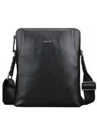Удобная чёрная мужская кожаная сумка на плечо 7034