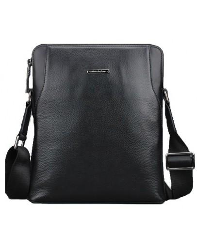 Фотография Удобная чёрная мужская кожаная сумка на плечо 7034
