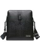 Фотография Чёрная кожаная сумка на плечо с тиснением 7035