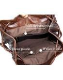 Фотография Вместительный и очень модный кожаный коричневый рюкзак 77047r
