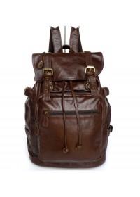 Вместительный и очень модный кожаный коричневый рюкзак 77047r
