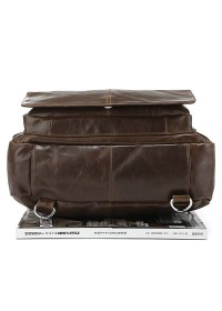 Повседневный модный кожаный коричневый рюкзак 77065q
