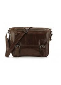 Вместительная коричневая кожаная сумка на плечо 77070R