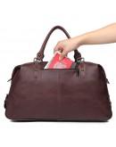 Фотография Кожаная большая мужская сумка бордово-коричневого цвета 77071lc