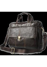 Кожаная коричневая мужская сумка портфель Cross 7077