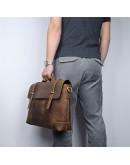 Фотография Стильный и прочный винтажный кожаный портфель 77082R