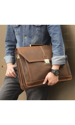 Удобный и вместительный кожаный портфель 77083