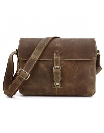Фотография Стильная винтажная мужская кожаная сумка на плечо 77084R