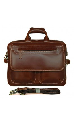 Кожаная мужская деловая глянцевая сумка 77085X