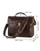 Фотография Строгий оригинальный кожаный коричневый портфель 77091C