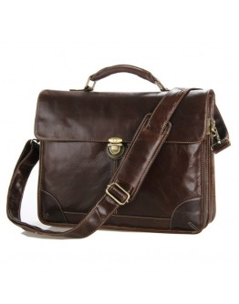 Строгий оригинальный кожаный коричневый портфель 77091C