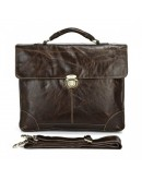 Фотография Оригинальный темно-коричневый портфель на один замок 77091q
