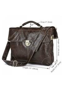 Оригинальный темно-коричневый портфель на один замок 77091q