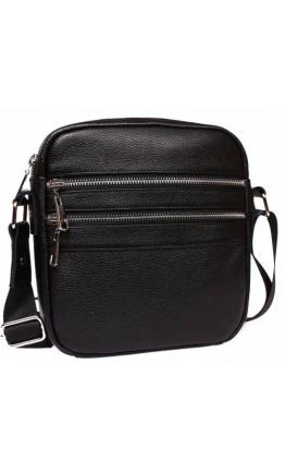 Удобная повседневная сумка черная кожаная на плечо 7092