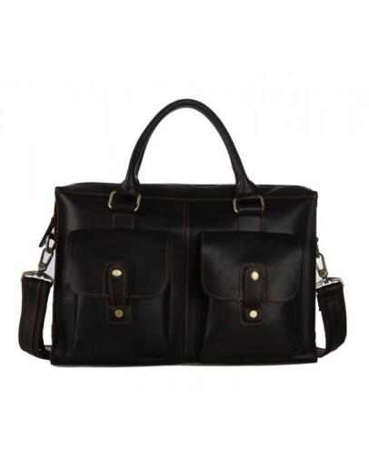 Фотография Мужская коричневая сумка - портфель в стиле ретро 77096